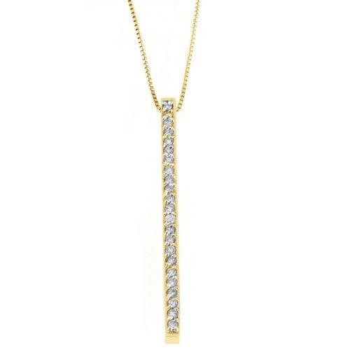 Womens Diamond Line Pendant 14KT Yellow Gold Brilliant Round Cut .62 Carats