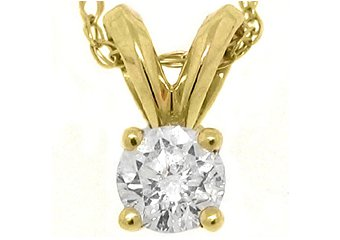 .28 Carat Solitaire Brilliant Round Cut Diamond Pendant 14KT Yellow Gold Womens