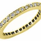 WOMENS DIAMOND ETERNITY BAND WEDDING RING ROUND CUT PAVE SET 14KT YELLOW GOLD