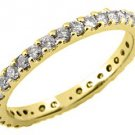WOMENS DIAMOND ETERNITY BAND WEDDING RING ROUND CUT PRONG SET 14KT YELLOW GOLD