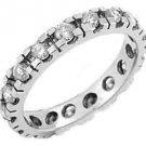 WOMENS DIAMOND ETERNITY BAND WEDDING RING ROUND CUT 1 CARAT 14KT WHITE GOLD