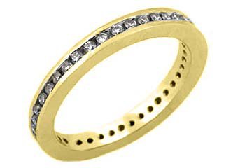 WOMENS DIAMOND ETERNITY BAND WEDDING RING ROUND CUT CHANNEL SET 14KT YELLOW GOLD