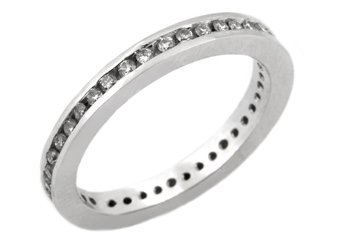 WOMENS DIAMOND ETERNITY BAND WEDDING RING ROUND CUT CHANNEL SET 14KT WHITE GOLD