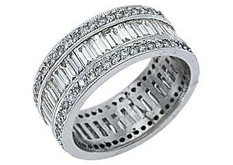 WOMENS DIAMOND ETERNITY BAND WEDDING RING BAGUETTE CUT 3 CARATS 14KT WHITE GOLD