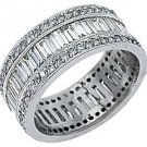 WOMENS DIAMOND ETERNITY BAND WEDDING RING BAGUETTE CUT 3 CARATS 14KT WHITE GOLD
