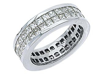 WOMENS DIAMOND ETERNITY BAND WEDDING RING SQUARE PRINCESS 3.5 CARAT WHITE GOLD
