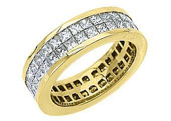 WOMENS DIAMOND ETERNITY BAND WEDDING RING SQUARE PRINCESS 3.5 CARAT YELLOW GOLD