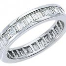 WOMENS DIAMOND ETERNITY BAND WEDDING RING BAGUETTE CUT 2.5 CARATS 14K WHITE GOLD