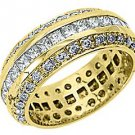 WOMENS DIAMOND RING ETERNITY BAND 3.5 CARATS PRINCESS ANTIQUE 14KT YELLOW GOLD
