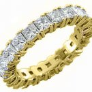 WOMENS DIAMOND RING ETERNITY BAND 4 CARAT PRINCESS SQUARE CUT PRONG YELLOW GOLD