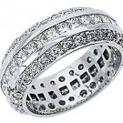 WOMENS DIAMOND RING ETERNITY BAND 3.5 CARATS PRINCESS ANTIQUE 14KT WHITE GOLD