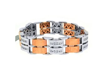 Mens Diamond Link Bracelet 3.22 Carats Round Cut 14KT Rose & White Two-Tone Gold