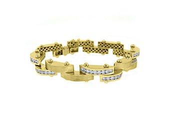 Mens Diamond Link Bracelet 6.35 Carat Brilliant Round Cut 14KT Yellow Gold