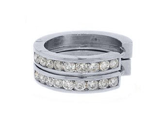 WOMENS 1.8 CARAT BRILLIANT ROUND CUT DIAMOND HOOP EARRINGS WHITE GOLD