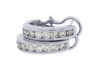 WOMENS 1.9 CARAT BRILLIANT ROUND DIAMOND HOOP EARRINGS WHITE GOLD OMEGA BACK