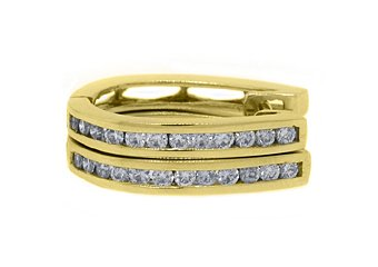 WOMENS .83 CARAT ROUND CUT DIAMOND HOOP EARRINGS 14KT YELLOW GOLD