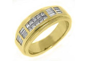 MENS 1.10 CARAT PRINCESS BAGUETTE CUT DIAMOND RING WEDDING BAND 18KT YELLOW GOLD