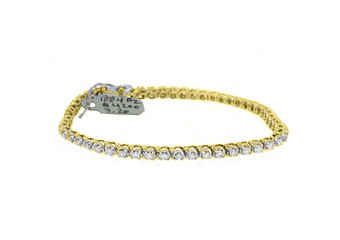 "WOMENS DIAMOND TENNIS LINK BRACELET 3.20 CARAT ROUND CUT 14K YELLOW GOLD 8"" INCH"