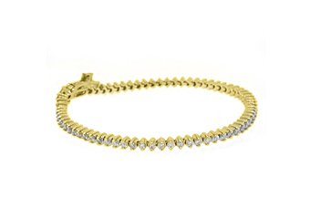 WOMENS DIAMOND TENNIS LINK BRACELET 3.11 CARAT ROUND CUT PRONG 14KT YELLOW GOLD