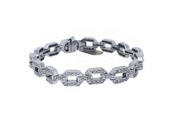 "WOMENS DIAMOND TENNIS LINK BRACELET 2.68 CARAT ROUND CUT PAVE 14KT WHITE GOLD 7"""