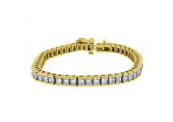 "WOMENS SQUARE DIAMOND BOX TENNIS BRACELET 7.54 CARAT 14KT YELLOW GOLD 7"" INCH"