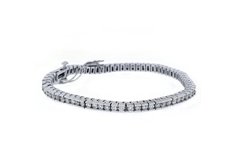 WOMENS DIAMOND TENNIS LINK BRACELET 3.81 CARAT ROUND CUT BOX 14KT WHITE GOLD 7""