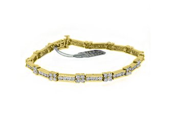 "WOMENS DIAMOND TENNIS LINK BRACELET 4.42 CARAT ROUND CUT 14K YELLOW GOLD 7"" INCH"