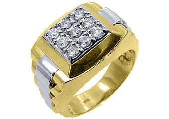 MENS .70CT BRILLIANT ROUND CUT SQUARE SHAPE DIAMOND RING 14KT YELLOW WHITE GOLD