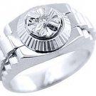 MENS SOLITAIRE DIAMOND RING .05CT BRILLIANT ROUND CUT SHAPE 14KT WHITE GOLD