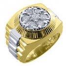 MENS 1.5 CARAT BRILLIANT ROUND CUT SHAPE DIAMOND RING 14K YELLOW WHITE GOLD