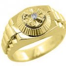 MENS SOLITAIRE DIAMOND RING .05CT BRILLIANT ROUND CUT SHAPE 14KT YELLOW GOLD