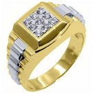 MENS .45CT BRILLIANT ROUND CUT SQUARE SHAPE DIAMOND RING 14KT WHITE YELLOW GOLD