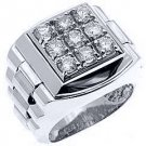 MENS 1.75 CARAT BRILLIANT ROUND CUT SQUARE SHAPE DIAMOND RING 14KT WHITE GOLD