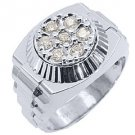 MENS .70CT BRILLIANT ROUND CUT SHAPE DIAMOND RING 14KT WHITE GOLD
