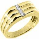 MENS 1/3 CARAT BRILLIANT ROUND CUT DIAMOND RING WEDDING BAND 14KT YELLOW GOLD