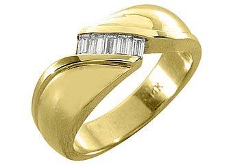 MENS 2/5 CARAT BAGUETTE CUT DIAMOND RING WEDDING BAND 14KT YELLOW GOLD