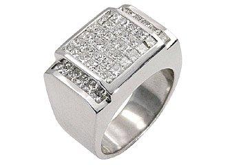 MENS 3 CARAT DIAMOND RING PRINCESS SQUARE CUT INVISIBLE 18KT WHITE GOLD