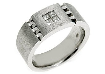MENS 2/5 CARAT PRINCESS SQUARE CUT DIAMOND RING WEDDING BAND 14KT WHITE GOLD