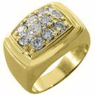 MENS 1.5 CARAT DIAMOND CLUSTER RING BRILLIANT ROUND CUT 10 STONE 14K YELLOW GOLD