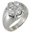 MENS 1.5 CARAT DIAMOND CLUSTER RING BRILLIANT ROUND CUT 7 STONE 14KT WHITE GOLD