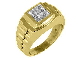 MENS 3/4 CARAT PRINCESS CUT SQUARE SHAPE INVISIBLE DIAMOND RING 18KT YELLOW GOLD