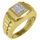 MENS 3/4 CARAT PRINCESS CUT SQUARE SHAPE INVISIBLE DIAMOND RING 18KT YELLOW GOLD