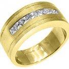 MENS 1.25 CARAT PRINCESS SQUARE CUT DIAMOND RING WEDDING BAND 14KT YELLOW GOLD