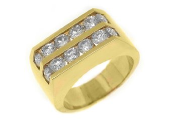 MENS 2.58 CARAT BRILLIANT ROUND CUT DIAMOND RING WEDDING BAND 14KT YELLOW GOLD