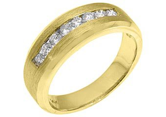 MENS .63 CARAT BRILLIANT ROUND CUT DIAMOND RING WEDDING BAND 14KT YELLOW GOLD
