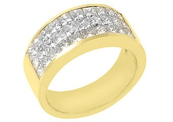 MENS 2.39 CARAT PRINCESS SQUARE SHAPE DIAMOND RING WEDDING BAND 18KT YELLOW GOLD