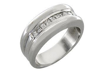 MENS .55 CARAT PRINCESS SQUARE CUT DIAMOND RING WEDDING BAND 14KT WHITE GOLD