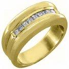 MENS .55 CARAT PRINCESS SQUARE CUT DIAMOND RING WEDDING BAND 14KT YELLOW GOLD