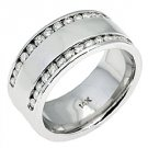 MENS 1.25 CARAT BRILLIANT ROUND CUT DIAMOND RING WEDDING BAND 14KT WHITE GOLD