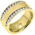 MENS 1.25 CARAT BRILLIANT ROUND CUT DIAMOND RING WEDDING BAND 14KT YELLOW GOLD